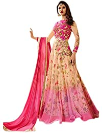 JULEE Women's Heavy Net & Benglori Fabric Heavy Embroidered & Digital Print Work Salwar Suit (Free Size)