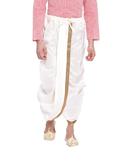 Svanik Cream Solid Blended Ready to wear Dhoti.