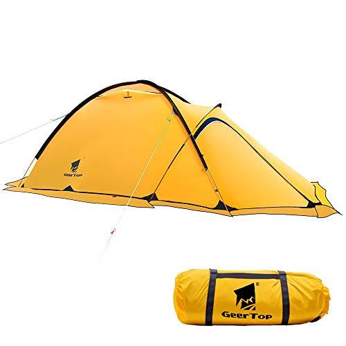 GEERTOP® 20D 2-Person 4-Jahreszeiten Super Leicht Alpine Camping-Zelt (120 x 210 x 100 cm), Ideal für Camping, beim Klettern oder Jagen (Gelb)