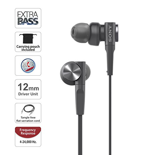 Sony MDR-XB55AP Extra Bass in-Ear Headphone with Mic (Black) Image 2