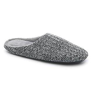 hometop Herren 's Baumwolle gestrickt rutschfeste Hausschuhe, Grau - dunkelgrau - Größe: Large