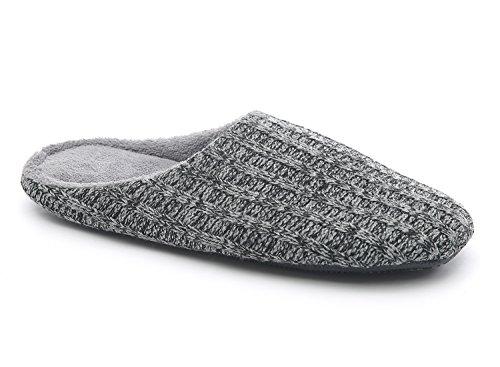 HomeTop Men's Cotton Knitted Anti-slip House Slippers - Dark Grey - 9/10...