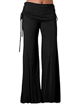 Mujer Pantalones Largos de Pierna Ancha Cintura Alta Pantalón Palazzo para Yoga Casual Danza