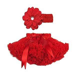 Buenos Ninos Girl's Tutu Pettiskirt Set Hair Clip Size 1-2T Red, 1-2T