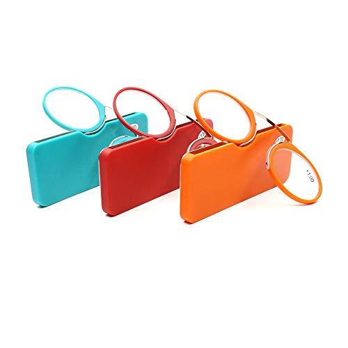 HHCC Tragbare Leseleblasses Armless Eyeglasses Resting Presbyopic Glasses Mini-Nase Lesebrille mit Frames für Männer und Frauen (3 Packungen),3.50