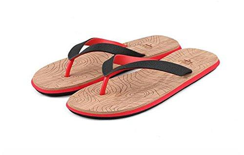 ALUK- Sommer Sandalen - Herren Hausschuhe Hausschuhe mit Europa und die Vereinigten Staaten Trend der Strand Schuhe ( Farbe : Rot , größe : 44 ) Rot