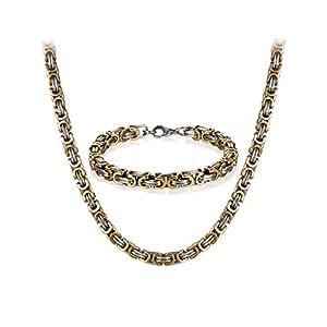 JewelryWe Schmuck Edelstahl Ketten Set von Halsketten und Armketten für Herren Gold Silber Armbändern 8mm breit und 21,5 cm für Armband, 22/24/26 Zoll für Halskette