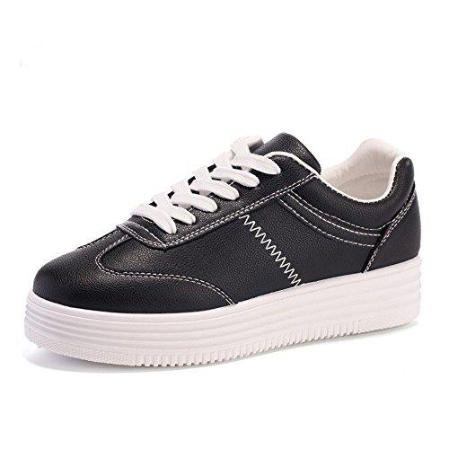 Baskets Plateforme Femme Basses Creepers Chaussures de Ville à Lacets Plate Pompes 3CM Blanc Noir Gris noir&blanc