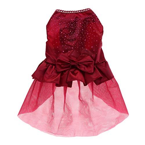 Welpen Kleid Hochzeit Party Hunde Kleidung Bekleidung Hundekostüm - Rot, S ()
