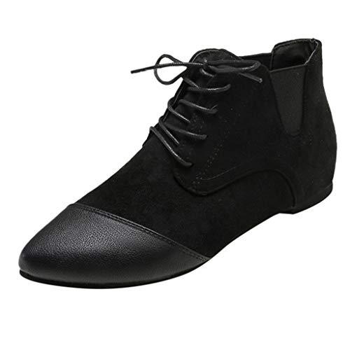 3014029410097 Mymyguoe Ankle Boots Damen Kreuzgurte Kurze Stiefel Freizeit Flache Schuhe  mit Schnürer Outdoor Elegante Spleißen Abendschuhe Party Pumps Leichte ...