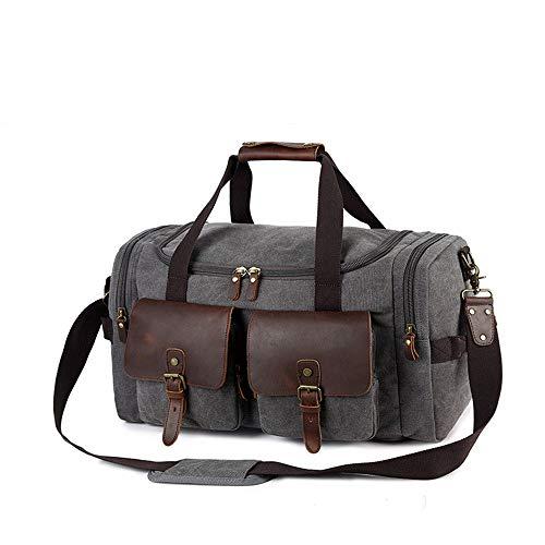 ZhaoZC Mit Schuhschrank Vintage Classic Canvas Leder Reisetasche mit Einer Umhängetasche für Männer und Frauen über Nacht - Grau -