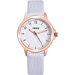 Kezzi Damen Armbanduhr Quarz Analoge Leder Uhren für Frauen K1164