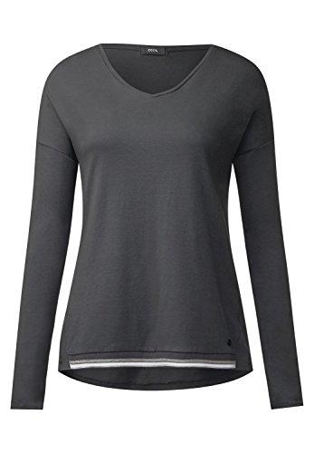 Cecil Damen V-Shirt mit College Bündchen Dark Silver L (Grau Shirt College)