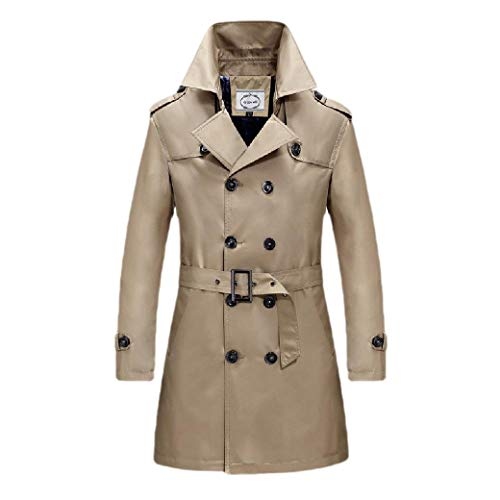 CuteRose Men Double-Breasted Business Outwear Notched Collar Trench Coat Jacket Brown M Classic Double-breasted Peacoat