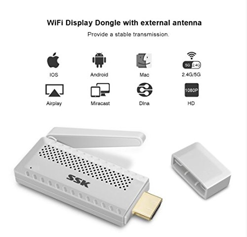 Miracast Dongle,MECO Mini Wireless HDMI Adapter WLAN Dongle Empfänger TV-Stick Full-HD 1080p WiFi Display Receiver Miracast DLNA Airplay Airmirroring für HDTV Smart Phones Notebook Tablet PC (Smartphone-hdtv Smart Adapter)