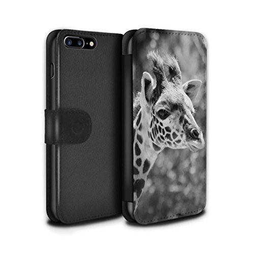 STUFF4 PU-Leder Hülle/Case/Tasche/Cover für Apple iPhone SE / Elefant Muster / Zoo-Tiere Kollektion Giraffe
