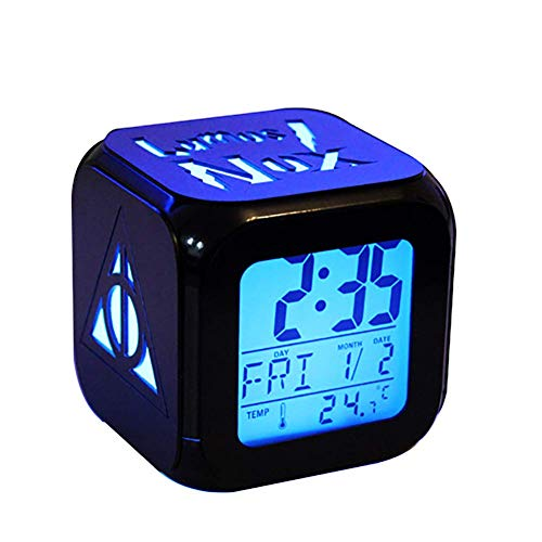 QIANXIAN Harry Potter Alarm Clock Retroiluminación Azul Colorido Alarm Clock The Deathly Hallows LED de luz Nocturna Relojes niños,A