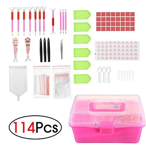 RENCALO 114 Stücke DIY Diamant Malerei Werkzeuge 5D Kreuzstich LED Stickerei Stift + Kleber + Aufkleber + Aufbewahrungsbox
