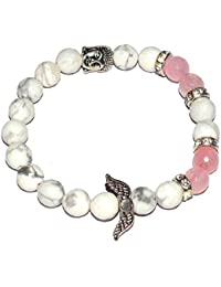 Reiki Crystal Products Howlite 8 Mm Round Bead Crystal Stone Bracelet With Head Buddha And Angel Feather For Unisex