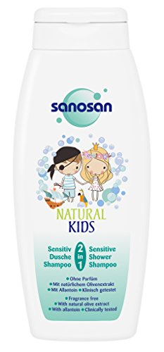 sanosan NATURAL KIDS 2in1 Sensitiv Dusche & Shampoo für Kinder, mildes Kindershampoo, 3er Pack (3 x 250 ml)