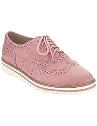 0a0992271cb Rioneo Femmes Ville Vintage Brogue Chaussures Cuir Talons à Lacets Plate  Bottines Loisirs Dames Chaussures Grande