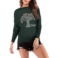 Minzhi Frauen Wishing Tree Pullover Pullover Pullover Langarm-O-Ansatz Knit Top Outwear