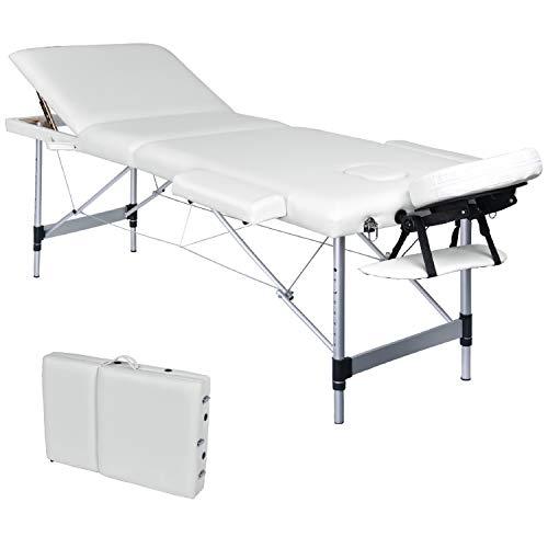 Wellhome lettino da massaggio 3 zone alluminio pieghevole portatile lettini massaggi professionale tavolo da massaggio terapia con poggiatesta e bracciolo staccabile, borsa da trasporto xxl (bianco)