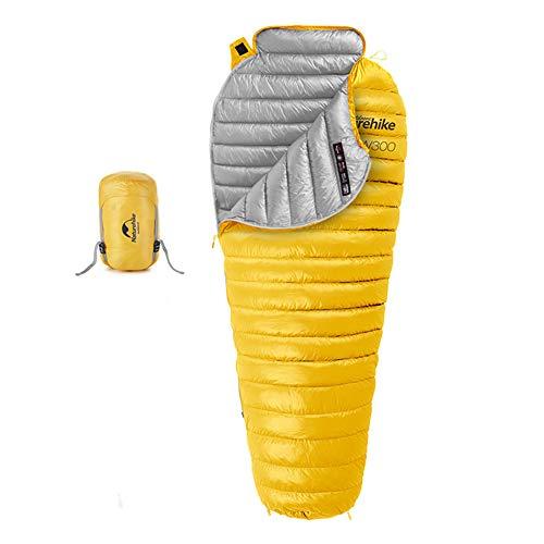 Naturehike sacco a pelo invernale 750 fp termico camping ultraleggero sacco a pelo mummia all'aperto 1 persona per trekking(giallo)