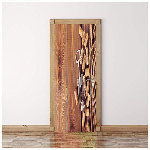 zxfmt Tür Aufkleber Dekoration Weinkorken PVC wasserdichte Selbstklebende Wandbild 3D Stereo Raum Poster Fototapete