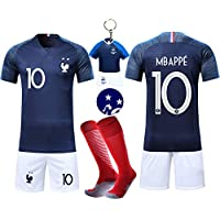 VOOA Maillots de Football Enfants de France Soccer Jersey 2018 Coupe du Monde France 2 Étoiles Football T-Shirt et Short Chaussettes