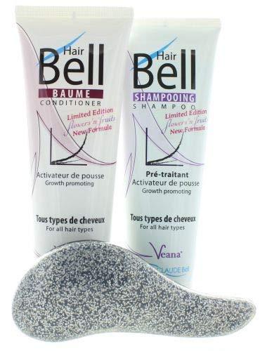 HairBell Shampoo + Conditioner flowers and fruits + DeTangler silber glitter metallic Haarwachstum beschleunigen, Hair shampoo für haarwachstum, Anti Haarausfall für dünnes Haar, gegen Haarausfall