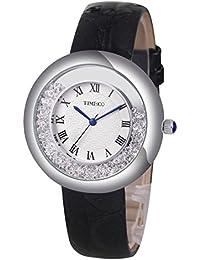 Time100 W50274L.01A Reloj pulsera con diamante cristal para mujer, estilo tradicional con cifra romana, correa de ante de color negro