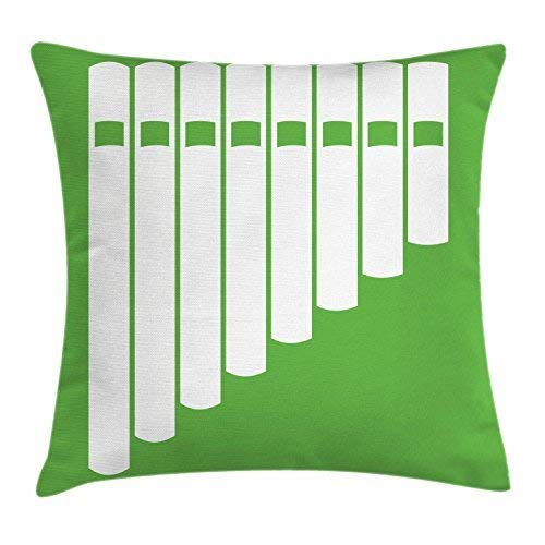 Pan Flute Throw Pillow Cushion Cover, White Abstract Panpipe Simple Icon on Green Background Peruvian Ethnic, Decorative Square Accent Pillow Case, 18 X 18 Inches, Lime Green and White Insert Pan Cover
