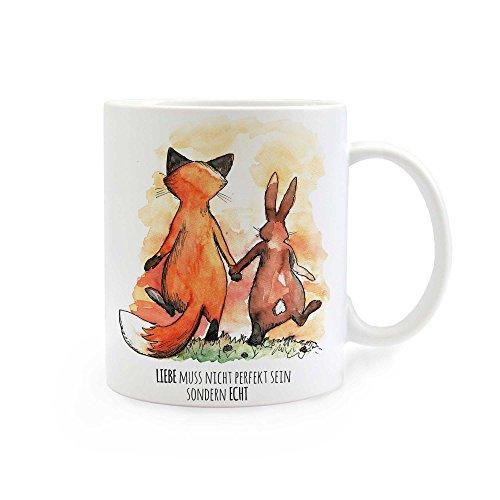 ilka parey wandtattoo-welt Tasse Becher Hase und Fuchs mit Spruch Liebe muss nicht perfekt sein sondern echt ts287 (Echte Fuchs-kaninchen)