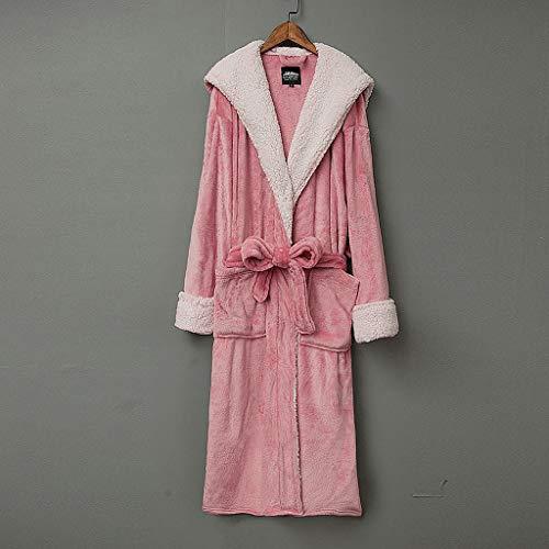 LIUY Hood Bademantel for Frauen - Plüsch-Fleece - Kimono Wrap - Frauen, Mädchen, Super Soft Komfortable Spa Bademantel Bikinihaus Leichte Robe for Frauen (Color : Pink, Size : M)