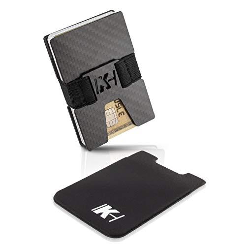 Slim Wallet Case (KartenHouse Kreditkartenetui aus Carbon mit Handy Kartenhalter - RFID NFC Schutz - Slim Wallet Kartenetui 1 bis 20 Karten - Carbon Geldklammer - Geldbörse Portmonee für Minimalisten)
