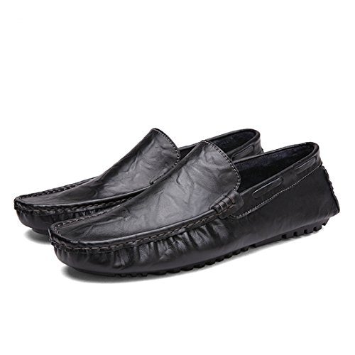 Minitoo Boys Mens Stitching Slip-On Classic Daily Casual Comfortable Loafers Black
