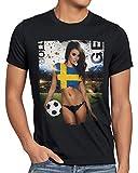 style3 WM 2018 Soccer Girl Deutschland Herren T-Shirt Fußball Trikot Germany Schwarz, Größe:XXL, Land:Schweden