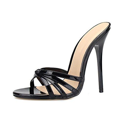 OCHENTA Damen Pantolette Stiletto High Heels Plateau Absatzhöhe 13 cm Sexy Sandalen Schwarz-47