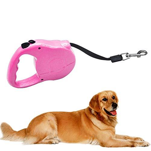 LOSVIP Einfacher Stil Neu Haustier Hund Katze Automatisch Einziehbares Zugseil Gehschutz Führleine,Sicherheit führen Zugseil 3 Meter(Rosa,13x8.5x2.5cm)