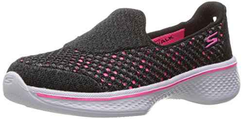 Skechers Girls' Go Walk 4-kindle Low-top Sneakers, Black (Bkhp), 2 Uk 35 Eu