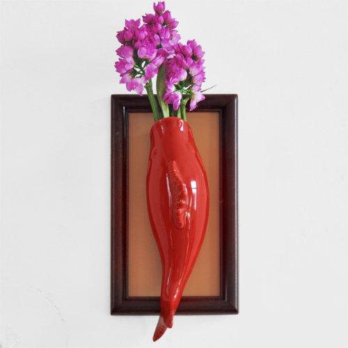 Lx.AZ.Kx Continental minimalista moderno pesce ceramico a parete Tv decorazione decorazioni a parete parete dimostrazione di Ikebana è Wall-Mounted vasi acquatica,pesce rosso+Box(Iflower)