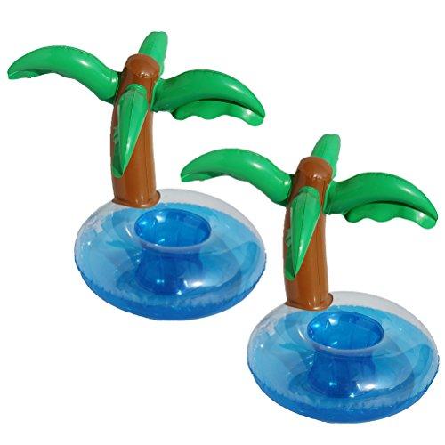 LUOEM Aufblasbare Getränkehalter Palmen Trinken Float Coasters Hawaiian Luau Party Favors Beach Pool Hintergrund Dekoration 2 STÜCKE