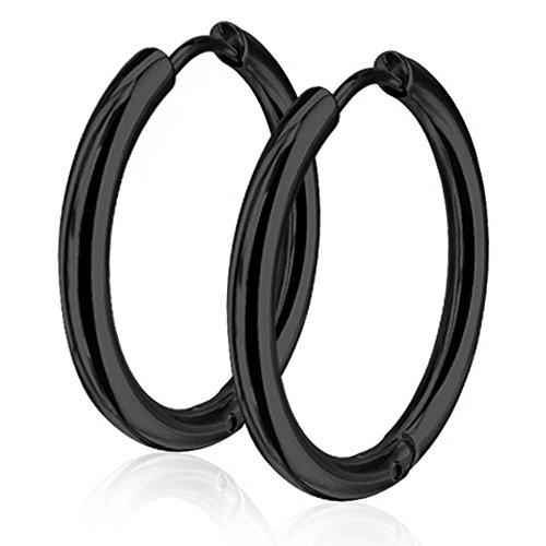 Für Xxl Männer Ohrringe (viva-adorno® 1 Paar Klappcreolen Ohrringe Edelstahl in verschiedenen Größen und Farben ER96, Schwarz 25mm)