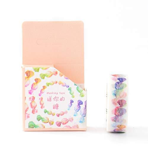 POFDG 5 Volumes Klebeband Farbe niedlich kleine frische DIY Paste Tagebuch Fotoalbum Dekoration Boxed, Farbe Stiftung - geben Sie Zucker. -