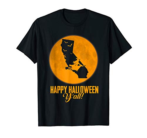 Happy Halloween Y'all California Witch Map T-shirt (Happy Halloween, All Y)