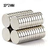 50 Stück Neodym Magnete 10x2 mm Mini Magnete Extrem Stark - Magenesis für Magnettafel, Magnetstreifen, Kühlschrank, Glas Magnetboards-bis zu 2,0 kg Klebkraft