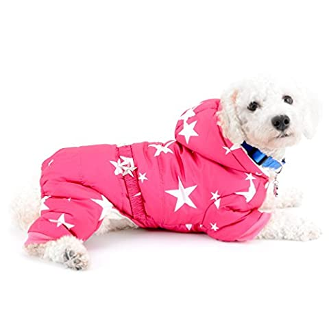 selmai Schneeanzug für kleine Hunde Fleece gefüttert Star Gürtel Kapuzen Jumpsuit four-legs Hose Winter Mäntel Puppy Hund Chihuahua Apparel Kleidung (Rosa Camo Hund)