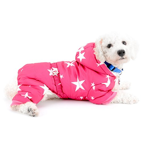 selmai Schneeanzug für kleine Hunde Fleece gefüttert Star Gürtel Kapuzen Jumpsuit four-legs Hose Winter Mäntel Puppy Hund Chihuahua Apparel Kleidung Outfits -