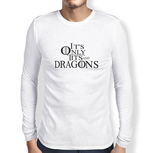 TEXLAB - Tits and Dragons - Herren Langarm T-Shirt, Größe L, weiß